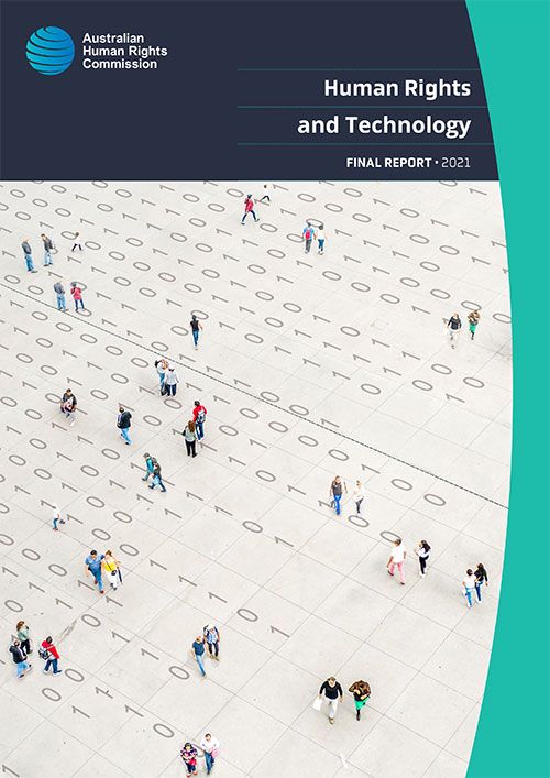 cover of final report, people walking in field of binary numbers