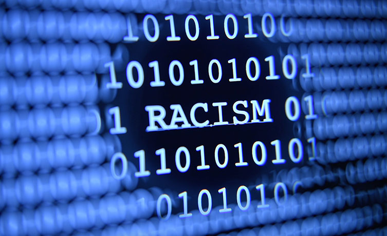 Racism text, surrounded by binary code
