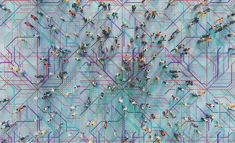 crowd walking over network diagrams